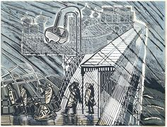 Edward Bawden R.A. (British, 1903-1989) Snowstorm at Brighton Linocut printed in colours, 1956, on wove, signed, dated, titled and inscribed 'Artist proof' in black ballpoint, an artist's proof aside from the edition of 40, with margins, 459 x 609mm (17 3/4 x 24in)(B)