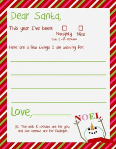 6 Best Images of Printable Christmas Letter To Santa Templates Free - Free Printable Santa Claus Letter Template, Free Printable Dear Santa Letter Template and Free Printable Letter From Santa Free Santa Letter Template, Free Printable Santa Letters, Free Letters From Santa, Free Christmas Printables, Christmas Activities, Letter To Santa, Christmas Worksheets, Preschool Christmas, Toddler Christmas
