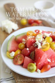 Tomato, Watermelon & Feta Salad with a Citrus Vinaigrette