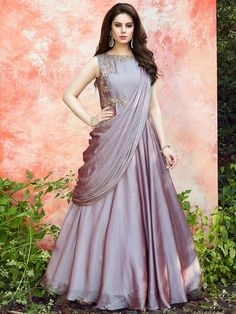Shop Violet satin silk anarkali suit online from India. Gown Party Wear, Party Wear Indian Dresses, Designer Party Wear Dresses, Indian Gowns Dresses, Indian Fashion Dresses, Dress Indian Style, Indian Designer Outfits, Indian Long Dress, Long Gown Dress