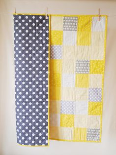 BABY QUILT Modern Bright Yellow/Blue Grey Baby Quilt. Will be a quick cut, layout, sew, and finish quilt. DLW