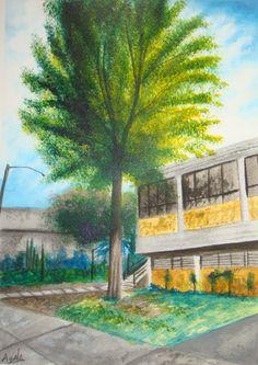Jonathan García Ayala Vista lateral del edifico E de la Prepa 5 33.5 x 24 cm 10 de noviembre de 2016 Acrílico sobre papel