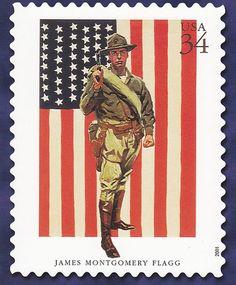 Sello de los Estados Unidos, 34c honra de James Montgomery Flagg y su pintura honrando la Infantería de Marina estadounidense