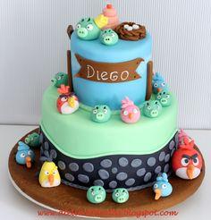 Tarta Fondant Cumpleaños Angry Birds Personalizada Diseño