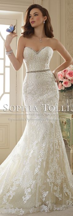 The Sophia Tolli Spring 2016 Wedding Dress Collection - Style No. Y11649 - Kenley #laceweddingdress