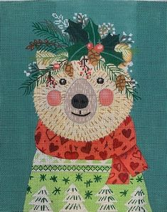 In-Stock Canvases – BeStitched Needlepoint Tree Skirts, Canvases, Needlepoint, Teddy Bear, Christmas Tree, Toys, Holiday Decor, Animals, Teal Christmas Tree