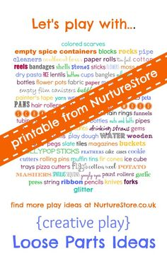 A printable list of loose parts to encourage creative free play