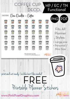 FREE Doodle Icon - Coffee Cups - Planner Stickers: Download your free planner printables. These free sticker icons will fit just about any planner. See more at www.pinkpixelgraphics.com
