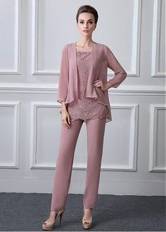 wedding dresses lace, Modest Pant Suits Chiffon & Lace Scoop Neckline Full-length Mother Of The Bride Dresses With Beadings DressilyMe UK Wedding Dresses Uk, Wedding Suits, Bride Dresses, Party Dresses, Wedding Wear, Modest Pants, Mother Of The Bride Suits, Chiffon, Bridal Dress Design