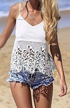 Love Love Love the Lace! White Lace Crochet Spaghetti Strap Lace Openwork Tank Top #White #Lace #Crochet #Summer #Tank #Top #Fashion