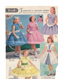 Fashions in chubby sizes. Aldens catalog 50s. Do they look chubby to you? Love the sailor style. also yes to the white socks and matching colored flats. Honestly, though, our 50s classroom values did categorize girls who looked like the one in pink as chubby. Look at those arms. Almost skinny. Sixties Fashion, 1950s Fashion, Lolita Fashion, Vintage Fashion, Sailor Fashion, Tween Fashion, Little Girl Fashion, Vintage Girls Dresses, Little Girl Dresses