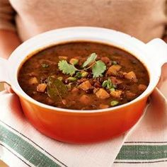 A hearty Black Bean and Sweet Potato Chili. Serve over a bed of Carolina Rice for a melt-in-your-mouth dish.