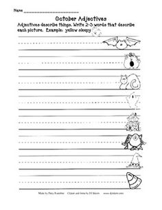 October Adjective Worksheets** FREE