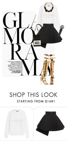 """""""Glamorama"""" by natyleygam ❤ liked on Polyvore featuring Balmain, FAUSTO PUGLISI, John & Pearl, Tom Ford, thevoice and YahooView"""