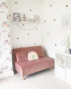 Sofa Bed For Kids, Sofa Bed For Small Spaces, Small Space Bedroom, Small Double Sofa Bed, Spare Bed, Spare Room, Pink Sofa Bed, Box Room Bedroom Ideas, Toddler Sofa