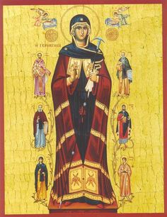 "The Most-Holy Theotokos ""Gerontissa"" (""The Abbess""), depicted with Holy Angels and several Monastic Saints ( source ) M. Blessed Mother Mary, Blessed Virgin Mary, Russian Orthodox, Catholic Art, Holy Family, Orthodox Icons, Our Lady, Flocking, Madonna"