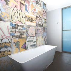 Street Art Inspired Graffiti Wall Tiles These Spanish On Display At Kalafrana Ceramics Sydney Bathroom Pinterest