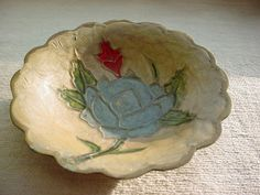 Old Vintage Solid Brass Dish Enameled Flower Floral Shabby Scalloped Edge