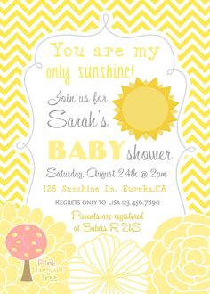 You Are My Sunshine Baby Shower Invitation By PinkLemonadeTree, $12.00