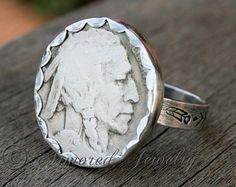 Sterling Silver Buffalo Nickel Ring - Indian Head Nickel Ring - Rare - OOAK