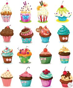 Set of 28 vector cartoon cupcakes, birthday cakes and pies for your birthday car. - Set of 28 vector cartoon cupcakes, birthday cakes and pies for your birthday cards, invitations, po - Cartoon Cupcakes, Cupcake Kunst, Cupcake Art, Art Cupcakes, Cupcake Painting, Cute Cupcake Drawing, Vintage Cupcake, Sweet Cupcakes, Mini Cupcakes