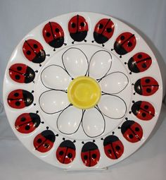 Love this! - Deviled Egg Plate  Ladybugs & Daisy  Large platter by JWGiftware, $35.00