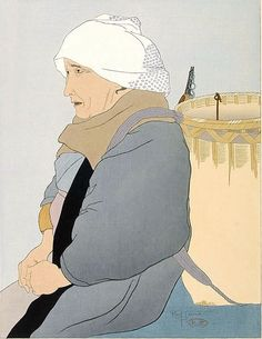 Paul Jacoulet (French: 1896–1960) | Vieille marchande de carpes