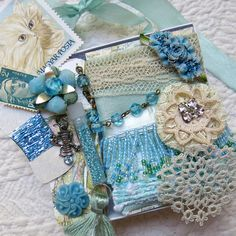 Embellishment Inspiration Kit...Aqua Marine Blue...Gift Box 76, Series 1...Vintage Elements, Supplies for Collage, Crazy…