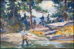 John Whorf   Trout Stream   (Watercolor on paper, 14-1/2 x 22 inches)   Spanierman Gallery, NYC  ==============  Click to view full size image