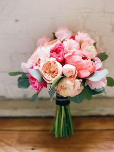 Peonies, peach roses, pink roses. Floral Design: By Nectar, Misty Florez. Photography: Ruth Eileen Photography   rutheileenphotography.com/