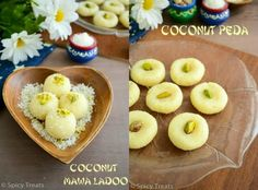 Today I am here with another easy and instant sweet recipes, Coconut Peda and Coconut Mawa Ladoo. Both the peda and Ladoos are del. Indian Desserts, Indian Sweets, Indian Dishes, North Indian Recipes, South Indian Food, Indian Food Recipes, Easy Baking Recipes, Jam Recipes, Sweet Recipes
