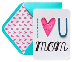 Papyrus I Heart U Mom Mother's Day Greeting Card, Multi-Colored Happy Mother's Day Calligraphy, Blue Envelopes, Mother's Day Greeting Cards, Gifts For Your Mom, Card Patterns, Heart Cards, Blank Cards, Happy Mothers Day, Note Cards
