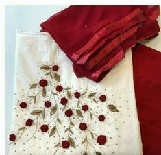WhatsApp 9035330901 to customise hand embroidery materials. Embroidery On Kurtis, Hand Embroidery Dress, Kurti Embroidery Design, Hand Embroidery Videos, Embroidery On Clothes, Embroidery Works, Flower Embroidery Designs, Simple Embroidery, Hand Embroidery Stitches
