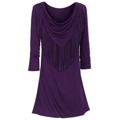 Cowl Fringed Purple Tunic