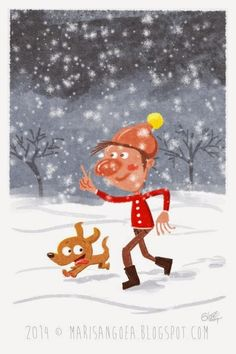 gianmaria bozzolan - illustrazioni - 2014 Caricature, Snoopy, Cartoon, Comics, Drawings, Fictional Characters, Design, Snow, Winter Time