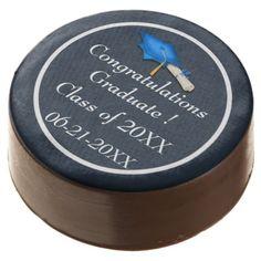 Blue with White Graduation Chocolate Dipped Oreos Chocolate Covered Oreo
