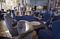 Ravintola Bro sijaitsee Hakaniemen Hilton-hotellissa. Näkymät merelle ovat hienot. Hilton, Bro, Armchair, Furniture, Home Decor, Sofa Chair, Single Sofa, Decoration Home, Room Decor