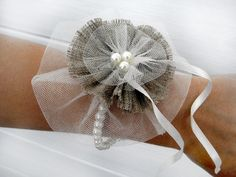Fabric Flower Corsage, Vintage Style Weddings, Wedding Corsage,Dreamy Tulle and Burlap Wrist Corsage. $22.00, via Etsy.