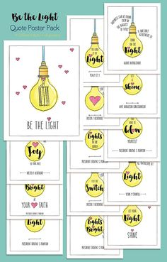 Be the Light: Poster Pack [Digital Download] Perfect for YWIE, New Beginnings, Youth Conference, Girls Camp and more!