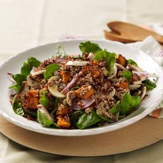 Try Rena Patten's big and hearty salad - a brilliant healthy dinner for all the family Roasted Sweet Potato,Spinach and Mushroom Salad Ingredients SALAD 1 kg s