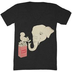 Elephant and Squirrel - V-neck T-shirt Tee Shirt Cute Peanut Peanuts... ($25) ❤ liked on Polyvore