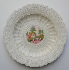 Vintage Hand Painted Red Transferware Plate Spode Jewel Exquisite Lace Border Grazing Cattle & Cottage @ www.nancysdailydish.net