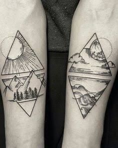 Tattoos geometric earth tattoo, geometric mountain tattoo, geometric tattoo l Black Tattoos, New Tattoos, Body Art Tattoos, Tattoos For Guys, Tatoos, Best Tattoos For Men, Tatto For Men, Verse Tattoos, Trendy Tattoos
