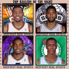 Kevin Durant, Oklahoma City Thunder, Tim Duncan, San Antonio Spurs,  Paul Millsap, Utah Jazz,  Rajon Rondo, Boston Celtics