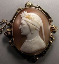Cameo of Dante Alighieri Material: Sardonyx Shell, gold tested. Size: 2 by 2 only cameo is 1 by 1 Date and Origin: Circa Italy. Dante Alighieri, Cameo Jewelry, Portraits, Middle Ages, Vintage Jewelry, Antique Jewelry, Mystic, Shells, Museum