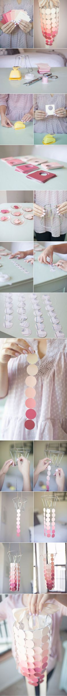 DIY Paint Swatch Chandelier diy crafts craft ideas easy crafts diy ideas diy idea diy home easy diy diy candles for the home crafty decor home ideas diy decorations