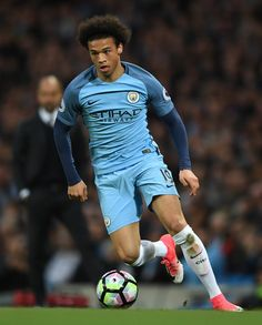 Leroy Sane of Manchester City in action during the Premier League match between Manchester City and Manchester United at Etihad Stadium on April 27, 2017 in Manchester, England.
