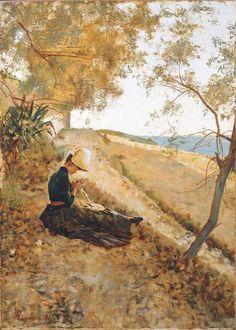 La ricamatrice / The embroiderer, Telemaco Signorini. Italian (1835 - 1901)- Oil on Canvas -