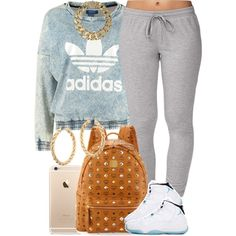 A fashion look from January 2015 featuring adidas Originals sweatshirts Forever 21 activewear pants and MCM backpacks. Browse and shop related looks. by candy Swag Outfits, Dope Outfits, Girl Outfits, Casual Outfits, Fashion Outfits, School Outfits, Fashion Tips, Fashion Trends, Dope Fashion