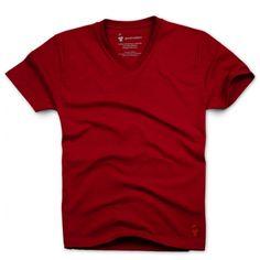 T-shirt col V rouge pour homme 5c3ae6115c0
